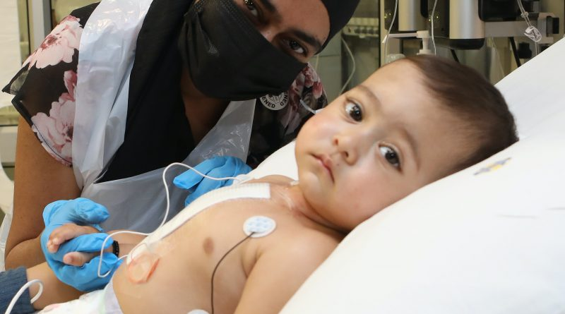 A baby with a large hole in the heart is recovering after a life-saving operation